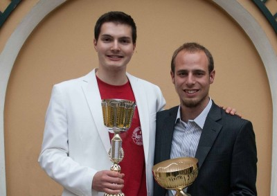 Strahlende Sieger: Valerio Morelli und Marco Witzmann aus München (c) Foto: Debattierclub AFA Wien
