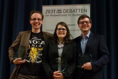Die neuen Westdeutschen Meister: (v.l.) Philipp Schmidkte, Theresa W., Matthias Morrkopf (c) Konstantin Zähl