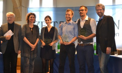 Die Gewinner der ZEIT DEBATTE Tübingen mit den Ehrenjurymitgliedern Prof. Dr. Joachim Knape (l.), Landtagsvizepräsidentin Brigitte Lösch sowie Oberbürgermeister Tübingens Boris Palmer. (c) VDCH